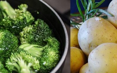 Pellkartoffeln mit Brokkoli und Mandelsauce